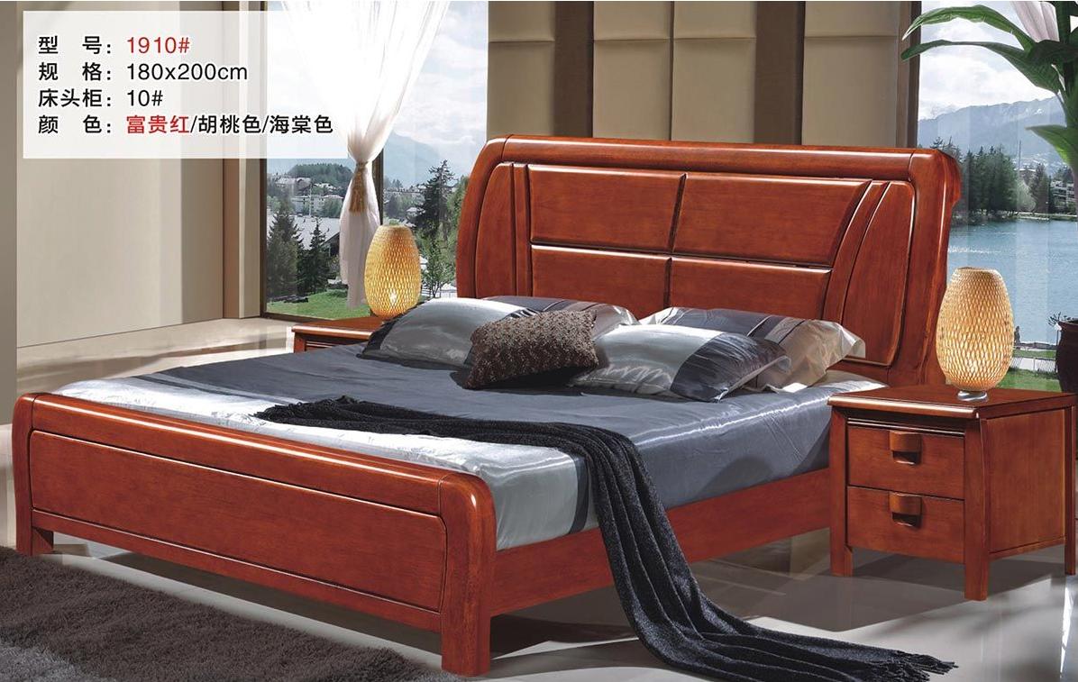 现代简约主卧1.8米双人床高箱储物实木床1910#