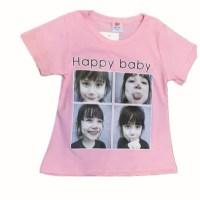 happy babyT恤表情包复古图案印花字母宽松百搭圆领短袖