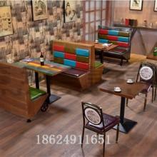 复古个性主题实木板式卡座中式茶餐厅音乐沙发火锅烤鱼店桌椅组合批发