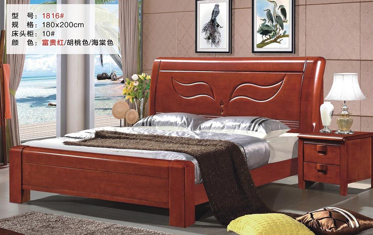 中式经济1.8米双人床高箱储物实木床1816#