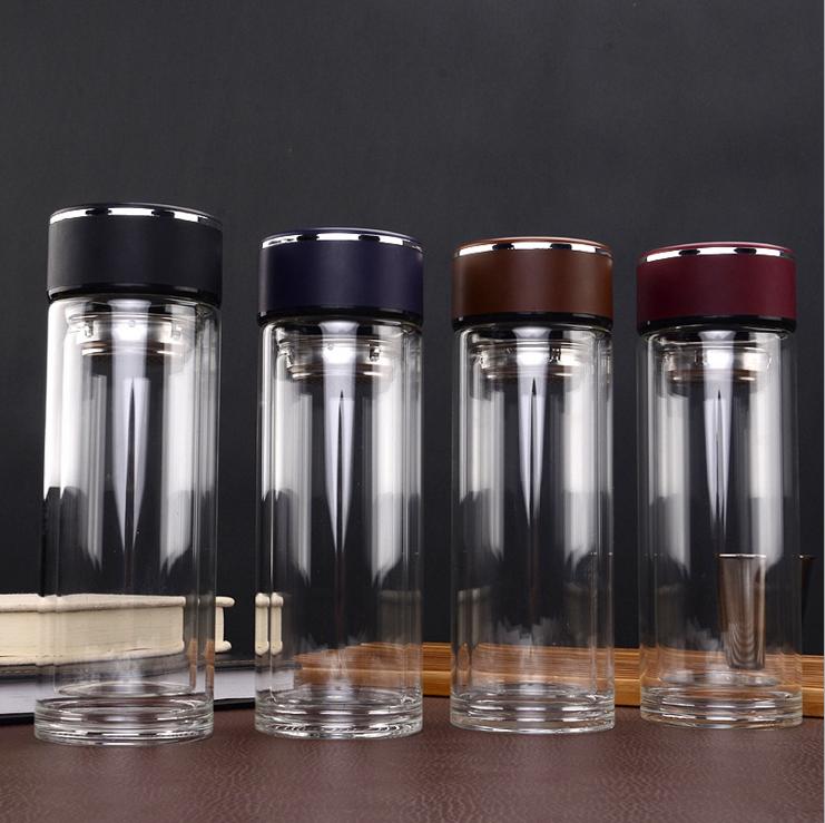 2018热销玻璃杯双层耐高温茶杯便携户外运动水杯礼品定制logo批发  玻璃茶杯