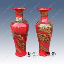 居装饰品开业礼品选景德镇中国红瓷花瓶定做批发