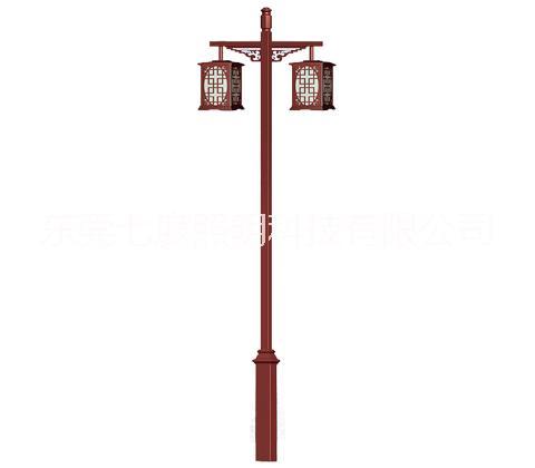 专业定制生产城市公园平行双头仿古典庭院灯厂家-东莞七度照明