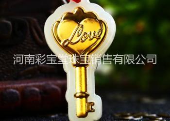 金镶玉爱情钥匙LOVE项链吊坠图片