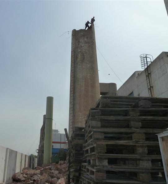 阜新100m钢筋混凝土烟囱拆除80m水泥烟囱拆除公司70m水泥烟囱拆除施工队 砼烟囱拆除
