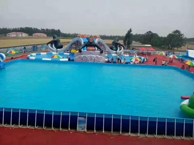 临沂室外大型支架游泳池儿童充气水滑梯生产厂家