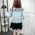 蕾丝雪纺衫修身显瘦短款露肩上衣图片