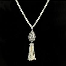 郑州五皇一后珠宝供应天然珍珠毛衣链 白色珍珠