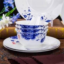 景德镇高温陶瓷蓝牡丹26头餐具厂家直销景德镇高温瓷蓝牡丹26头餐具图片