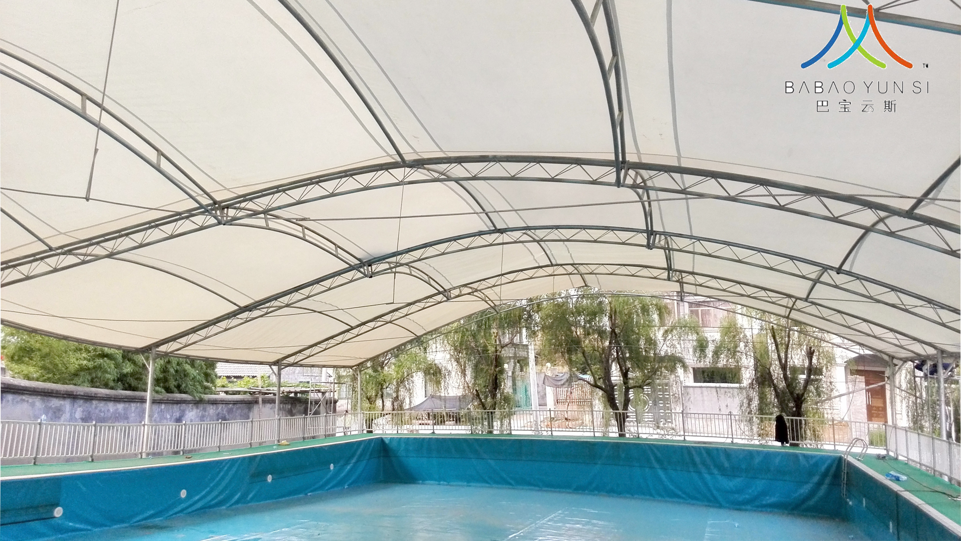 刀刮布防水布遮阳棚建筑膜材环保透明pvc游泳池沼气池膜材加工
