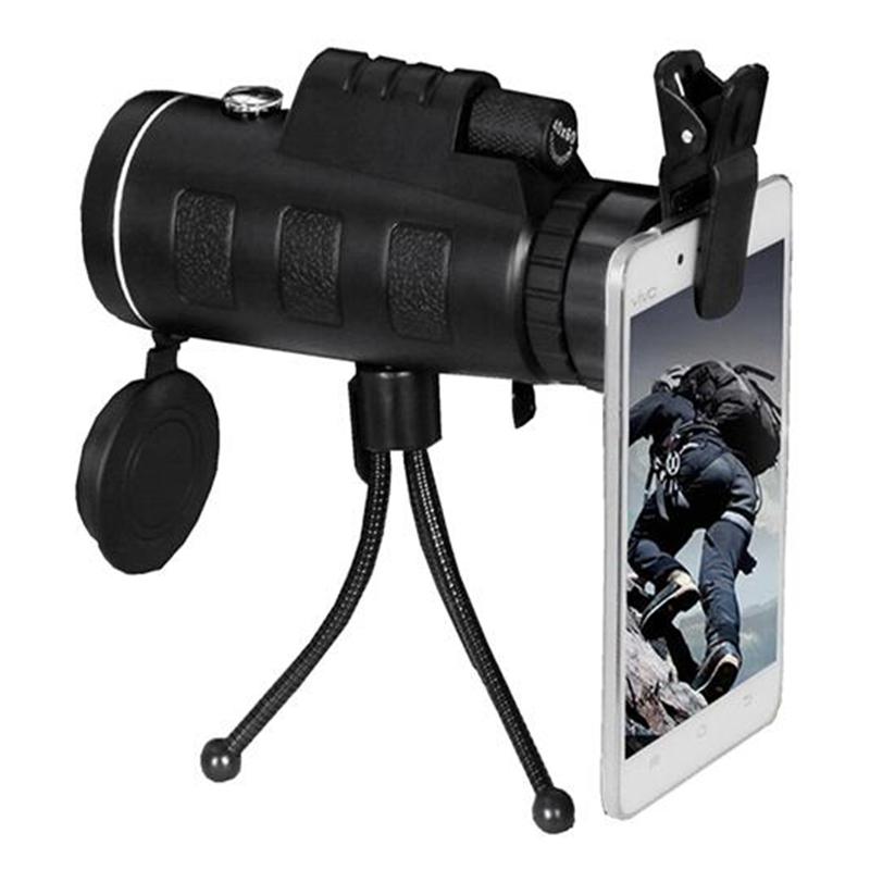 厂家直销单筒40X60高清双调手机望远镜 带指南针户外拍照望远镜