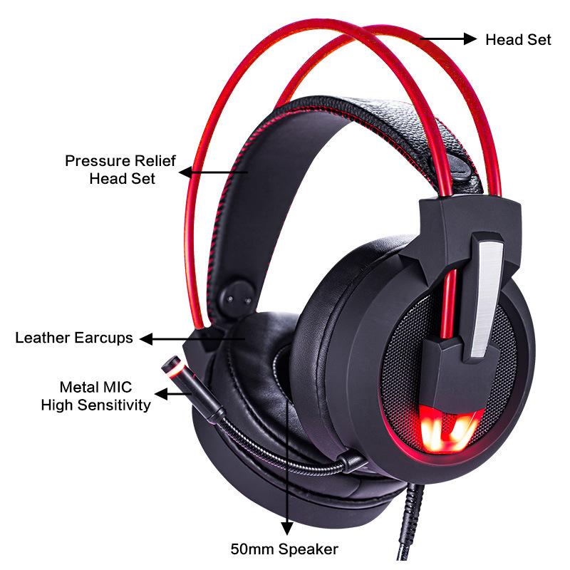 速钛 国内电商电脑耳机头戴式7.1声道吃鸡游戏耳机网吧网咖耳机线控 跨境外贸 V9