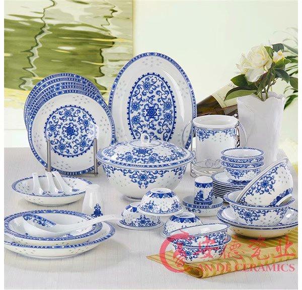 传统青花玲珑陶瓷餐具套装厂家定制