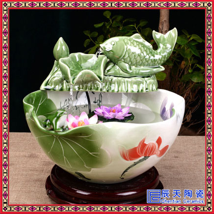 家居客厅流水器喷泉招财摆件 加湿器鱼缸小礼品禅意 陶瓷喷泉