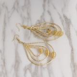 合金水滴耳环几何圆形多层金属缕空耳环 义乌饰品