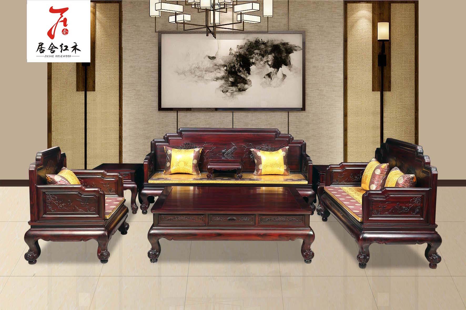 黑酸枝明韵沙发11件套 黑酸枝明韵沙发7件套 东阳红木家具厂