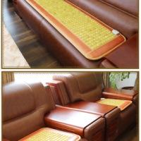 辽宁天然岫岩玉石锗石电加热温控式加热沙发垫 黄玉沙发垫