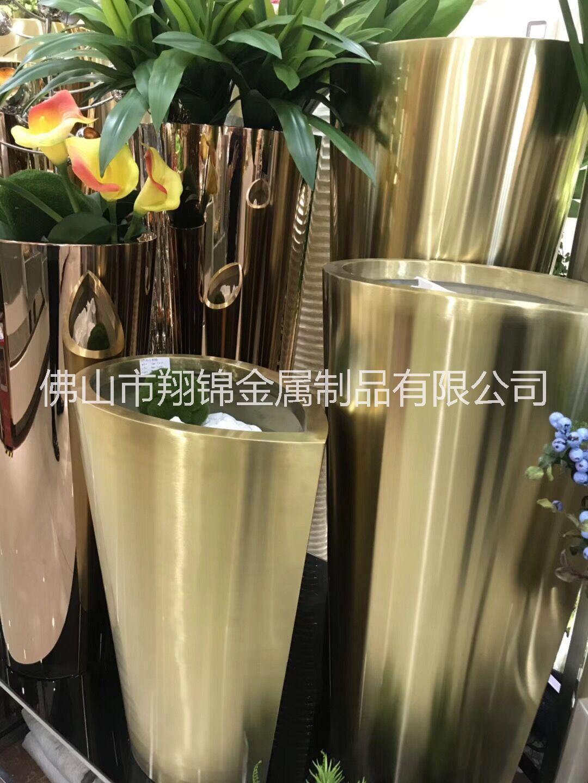 厂家定制钛金镜面不锈钢花瓶 酒店大堂盆景盆栽摆设