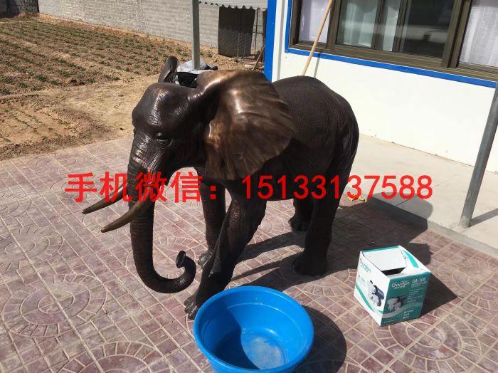 招财大象铜雕塑 动物铜雕塑