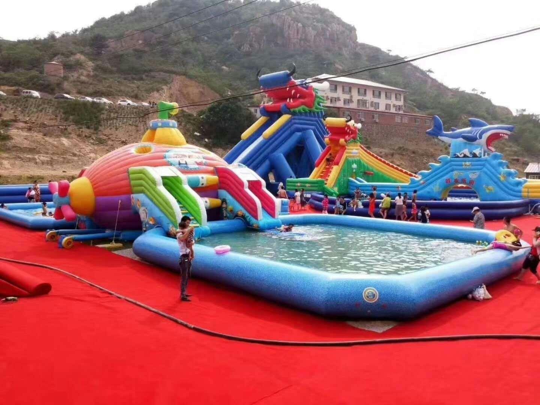游乐园室外充气水上乐园多少钱 儿童充气水滑梯水上滑梯厂家