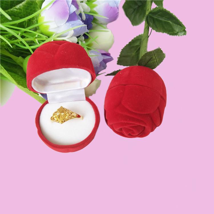 厂家直销玫瑰花圆型戒指首饰盒吊坠盒耳钉盒结婚求婚礼品包装盒可定制