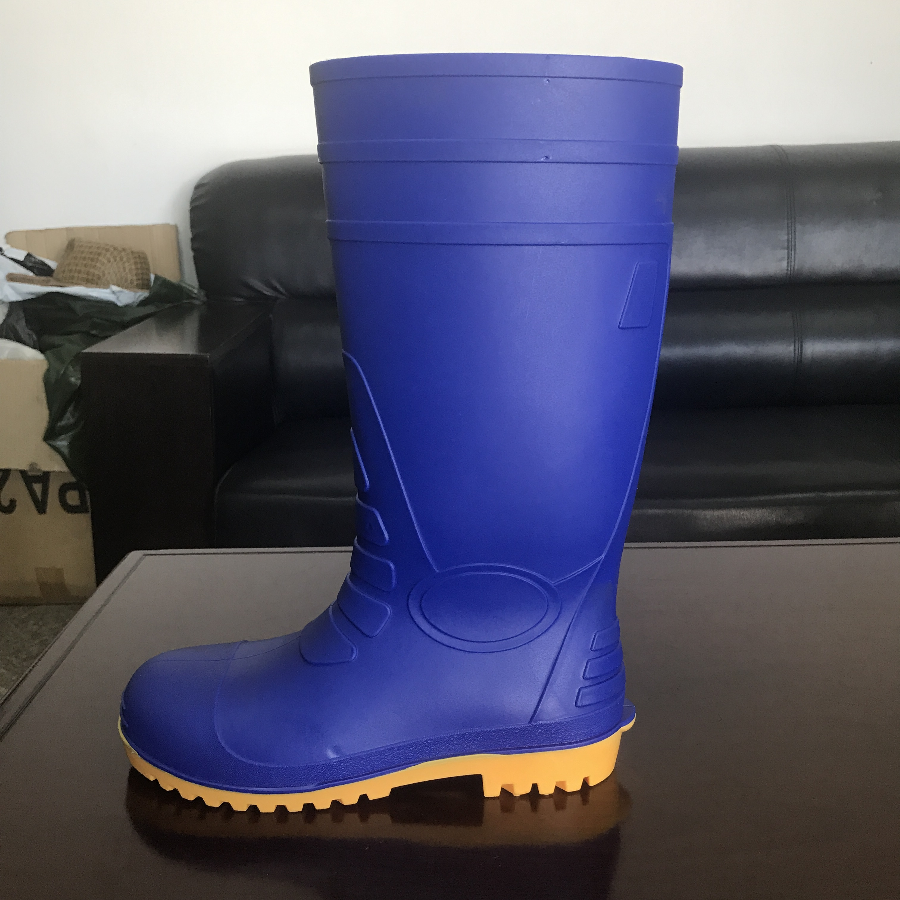 AN108蓝色黄底供应雨鞋 带钢头防砸雨鞋可加钢板防穿刺功能雨靴 AN108蓝色黄底
