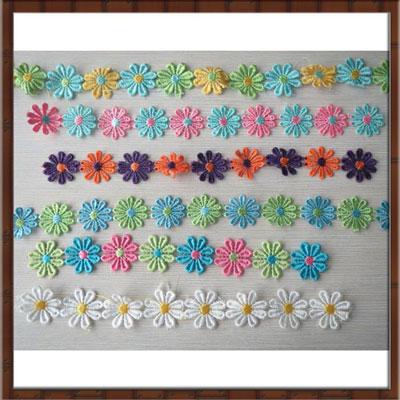厂家现货供应新款彩色连线水溶花朵花边