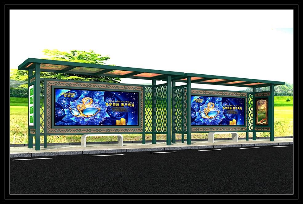 公交站台候车亭生产制作厂家、可定制生产公交候车亭、指路牌、广告灯箱