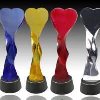 水晶玻璃制品水晶玻璃奖杯奖品礼品玻璃杯烟台纪念品 婚庆标牌来图加工定制
