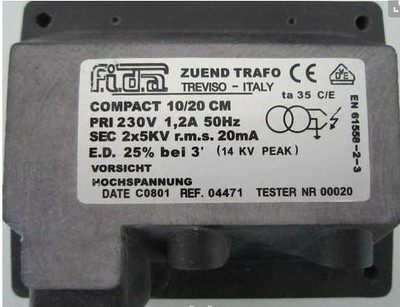 FIDA 意大利飞达点火变压器 COMPACT 10/20CM 10/30CM 2*5KV