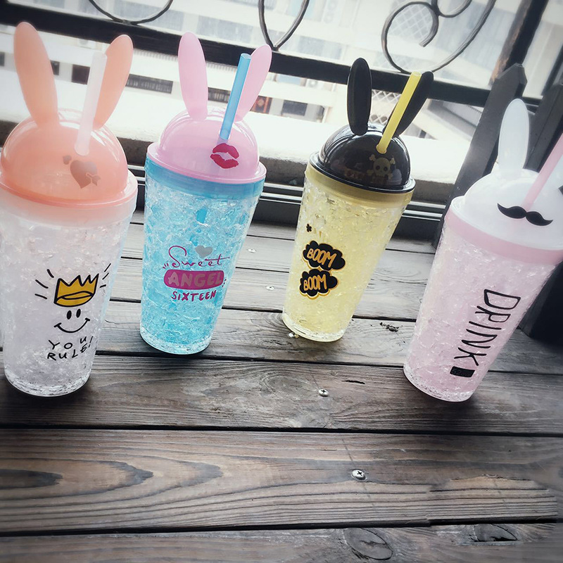 创意碎冰杯 萌兔冰杯 双层塑料吸管水杯  夏日随手冰杯批发  酷兔冰杯