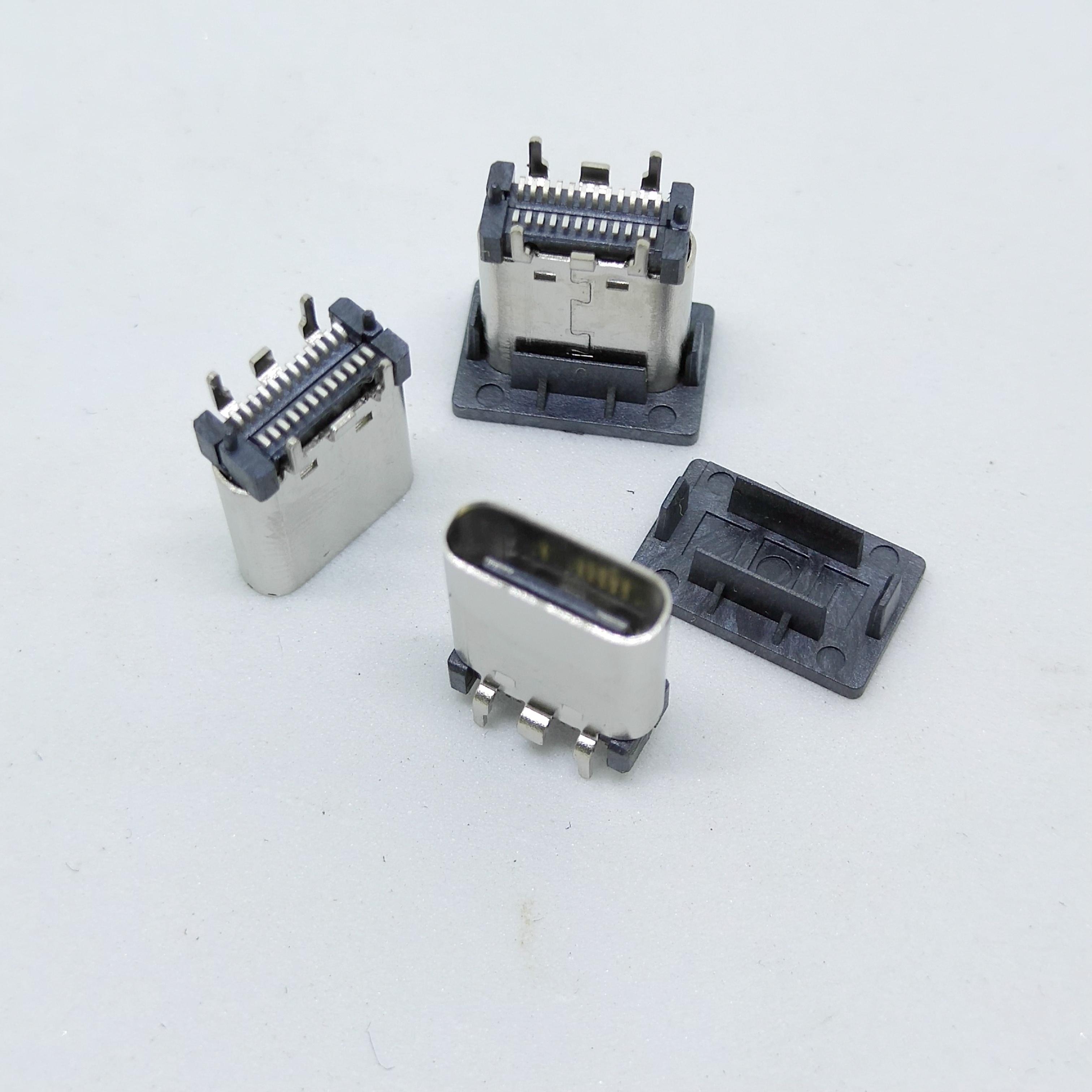 现货USB Type C母座 直插 四脚立式SMT长体 9.3010.50H 车充母座