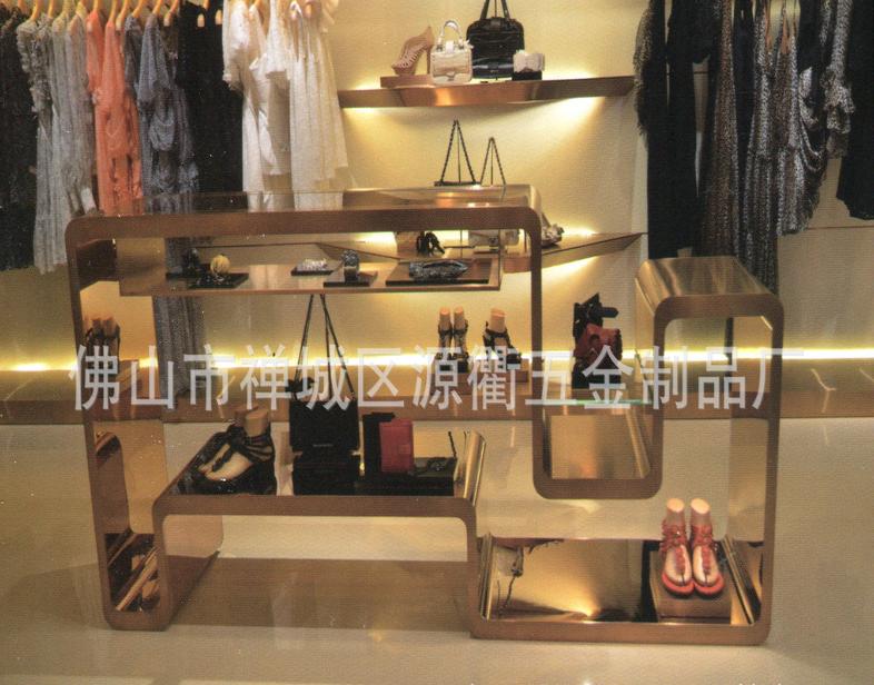 高品质玫瑰金时尚简约 不锈钢展,佛山服装店展示架销售 服装道具供应商  不锈钢服装道具厂家