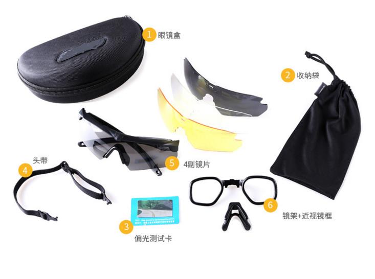 射击偏光镜特种兵护目防风沙骑行登山眼镜4组镜片近视可用 CQB射击眼镜