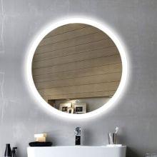 卫生间无框LED灯镜 壁挂悬挂浴室镜洗手间厕所灯镜卫浴镜子 外发光无框镜批发