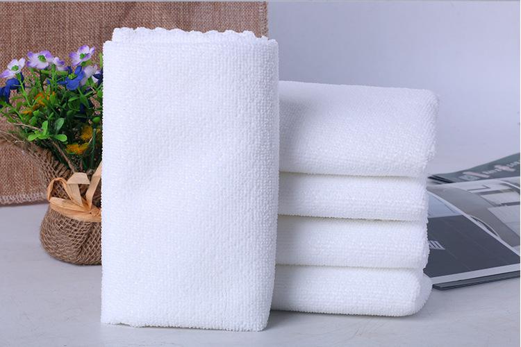 洗浴经编白毛巾批发40克花边切边销售
