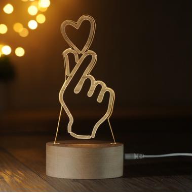 比心装饰3D小夜灯实木质LED遥控台灯创意礼物灯喂奶灯1号仓库