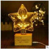 爱迪生灯心形星星装饰3D小夜灯实木质LED遥控台灯创意礼物灯3号仓