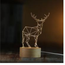 一鹿系列模板装饰3D小夜灯实木质LED遥控台灯创意礼物灯喂奶灯