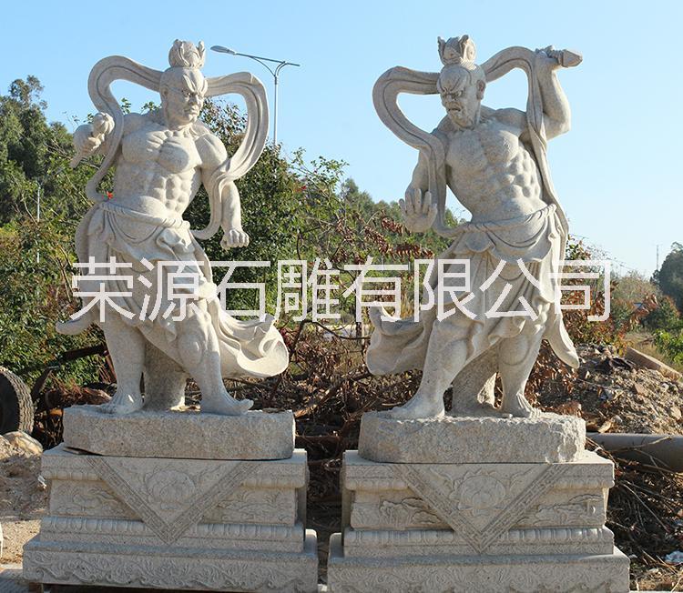 石雕哼哈二将雕塑 花岗岩人物雕刻 寺庙护法金刚佛像