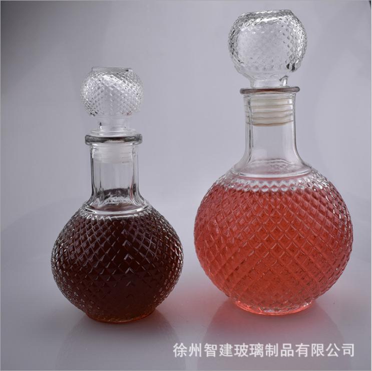 洋酒瓶 批发钻石圆地球玻璃酒瓶 葡萄酿酒分装瓶 自制红酒瓶 密封瓶