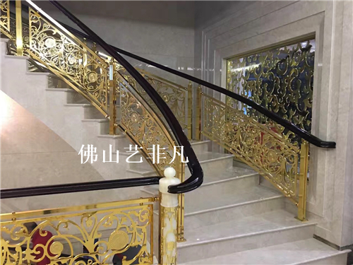 余姚楼梯铝雕刻护栏订做 青古铜镀色护栏处理-铝板雕刻 
