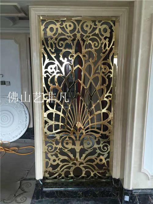 驻马店高档餐厅仿古铜铝板浮雕屏风 上门安装