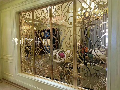 莆田专业拉丝仿红古铜不锈钢屏风隔断 中式餐厅浮雕铝艺镂空屏风