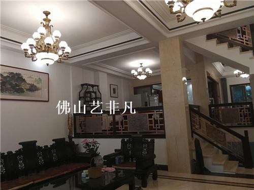乐山家居装潢 别墅酒店铝板楼梯扶手护栏立柱将军柱扶产品