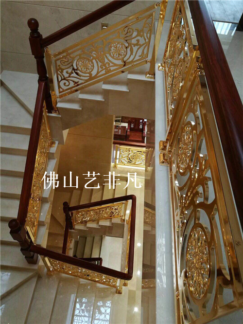 金华罗马欧式楼梯护栏栏杆仿铁艺雕花铝立柱酒店别墅楼梯扶手