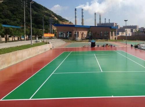 硅PU篮球场室外网球场_5厚硅PU篮球场翻新 室外网球场彩色地面材料