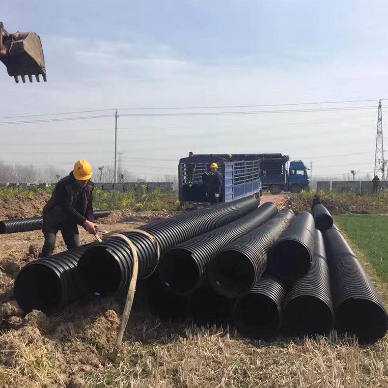 供应钢带增强聚乙烯螺旋波纹管 PE钢带管 HDPE钢带增强波纹管 DN500 钢带增强纹管