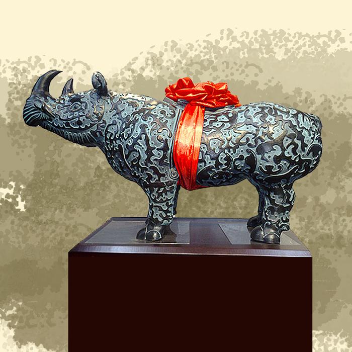 犀牛尊铜牛尊摆件礼品 上市礼品 铜牛