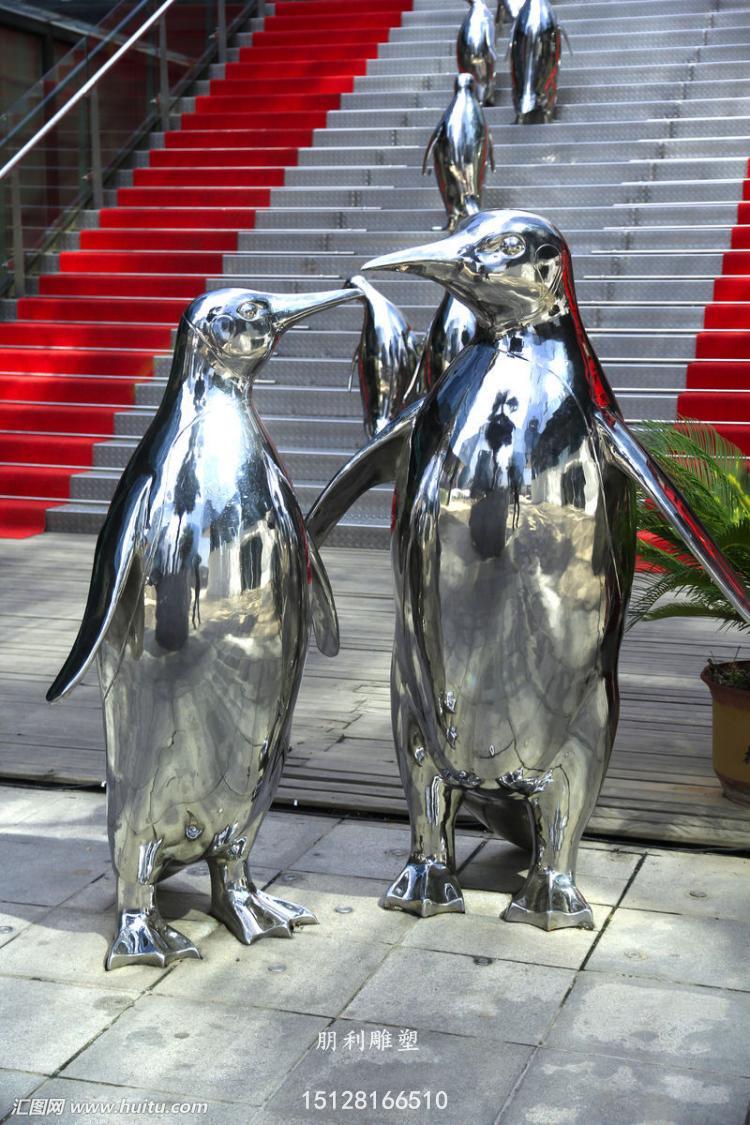 企鹅雕塑,动物企鹅雕塑,不锈钢动物企鹅雕塑厂家
